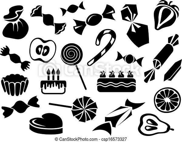 Sweets, fruits and cakes - csp16573327