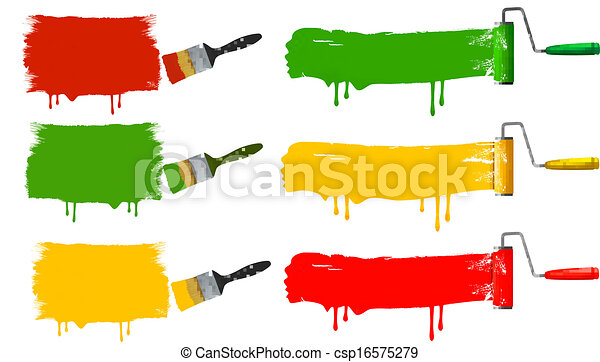 Paint brush and paint roller and paint banners. vector illustration. - csp16575279