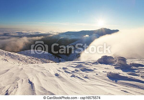 Winter mountain landscape with sun - Slovakia
