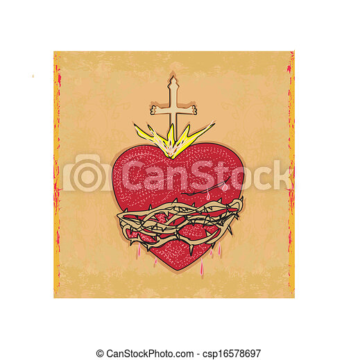 EPS Vectors of The Sacred Heart of Jesus on grunge background ...