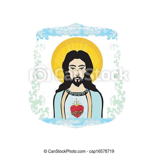 Vector - sagrado, corazón, Jesús, Ilustración