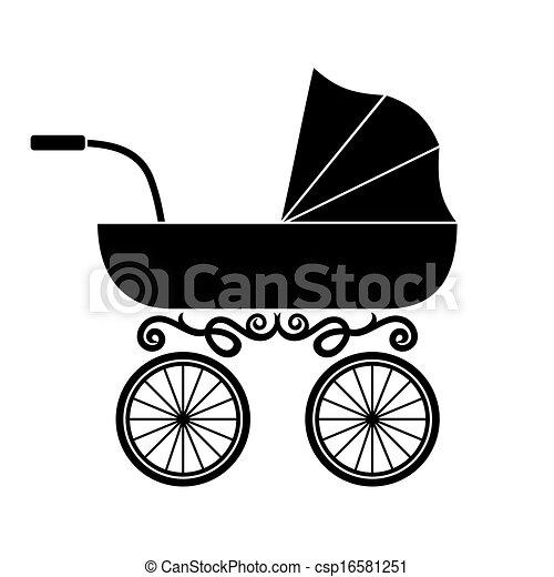 Clipart Vector of pram - baby carriage csp16581251 - Search Clip Art ... Baby Stroller Cartoon