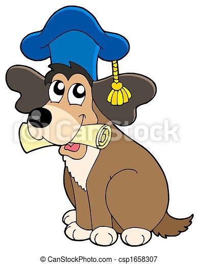 Dog teacher in hat - csp1658307