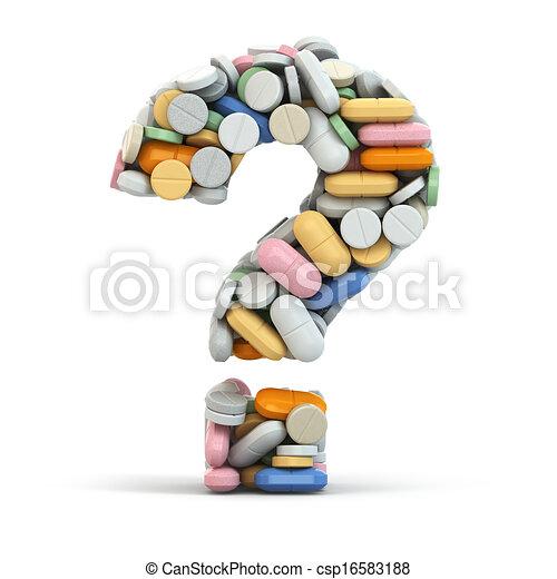 Pills as question. Medical concept. - csp16583188