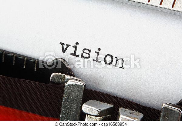 ord, retro, vision, skrivmaskin - csp16583954