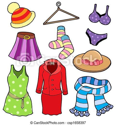 Illustrations de femme, vêtements, collection, -, isolé ...