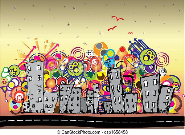 Cityscape background, urban art - csp1658458