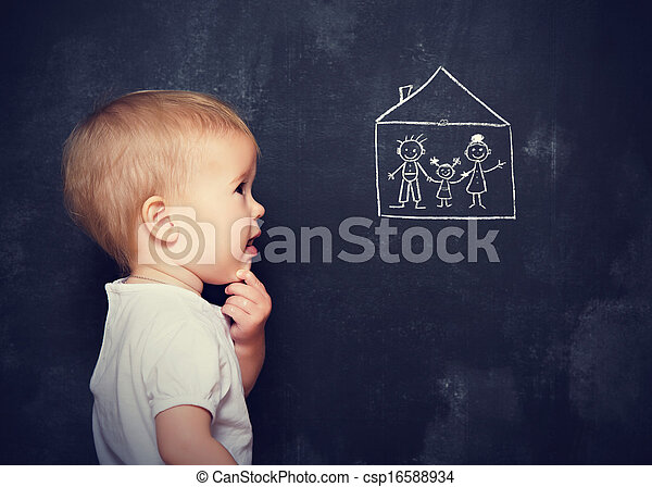 Concept baby looks at board, which is drawn family and home - csp16588934