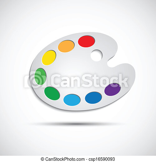 Modern art palette with eight colors, vector illustration - csp16590093