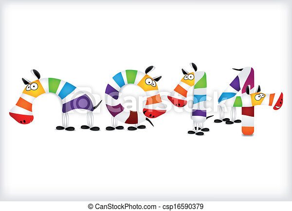 New year colored zebra horses. Vector - csp16590379