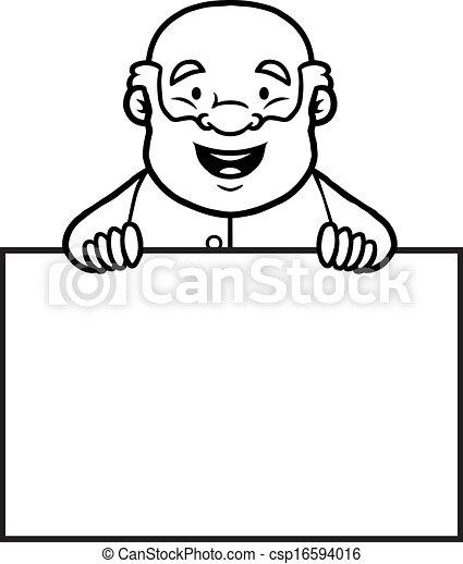 Vektor schwarz weißes altes mann besitz leer zeichen stock