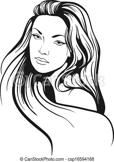 Clip Art Vector Of Beautiful Woman With Long Hair Sketch
