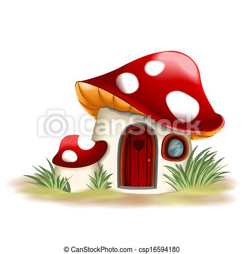 Fantasy mushroom house - csp16594180