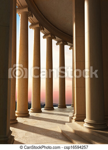 Column architecture with a sunset - csp16594257