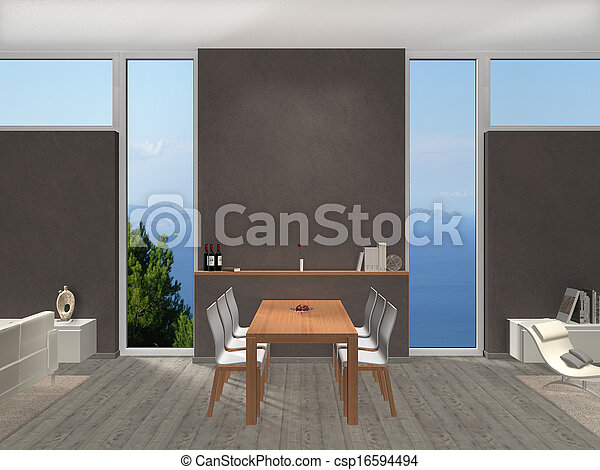 dining room with widows and view to the lake - csp16594494