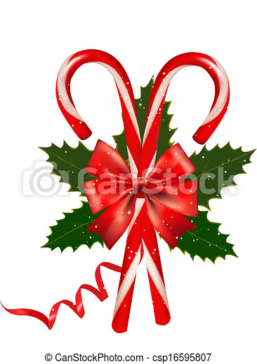Shiny red Christmas candy cane with bow. Vector illustration. - csp16595807