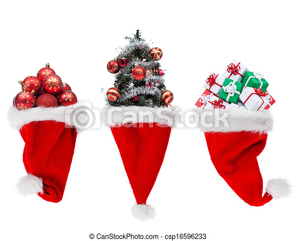Christmas objects in santa hats - csp16596233