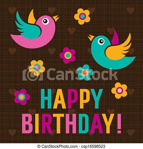 Happy Birthday Card with cute birds - csp16598523