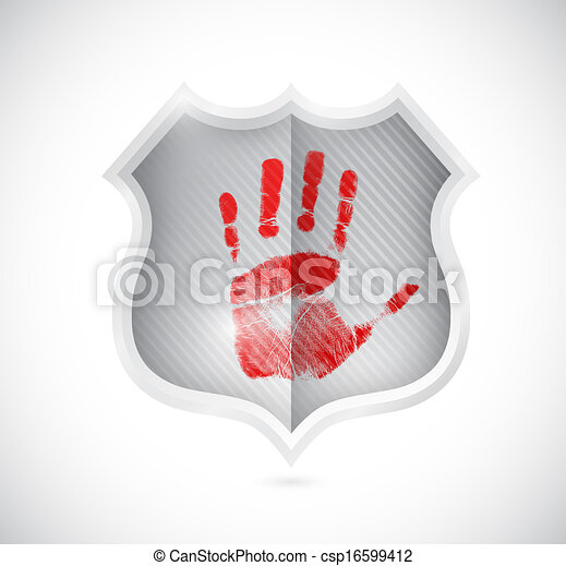 handprint stop spam shield illustration design - csp16599412