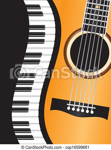 Piano Wavy Border with Guitar Illustration - csp16599681