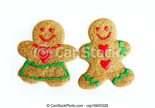 Man and Woman Christmas Gingerbread Cookies Isolated on White - csp16600328