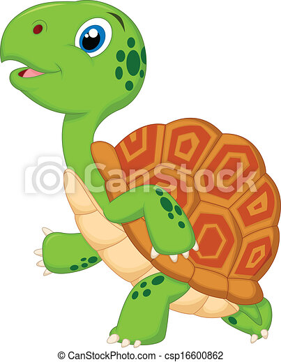 Clip art vector of cute turtle cartoon running vector illustration of cute csp16600862 - Clipart tortue ...