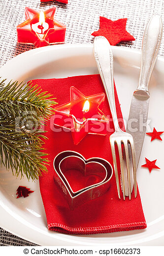 Christmas table place setting - csp16602373