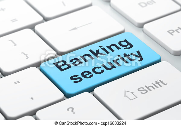Protection concept: Banking Security on computer keyboard background - csp16603224