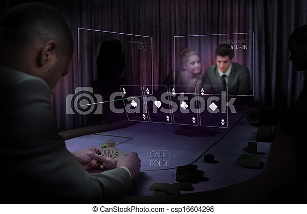People gambling on table in purple - csp16604298