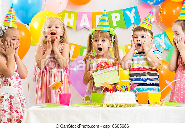 group of kids at birthday party - csp16605686