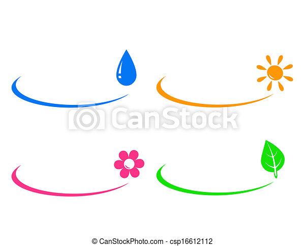 icons of water drop, sun, flower an - csp16612112