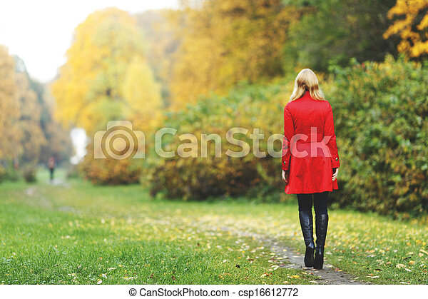Woman in autumn park - csp16612772