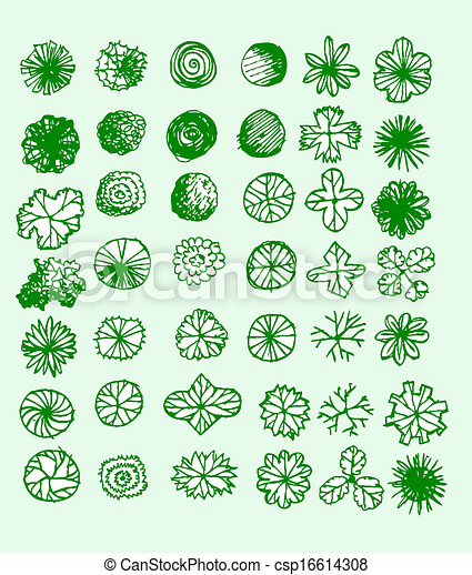 Vector clipart of trees top view for architecture for Landscape design icons