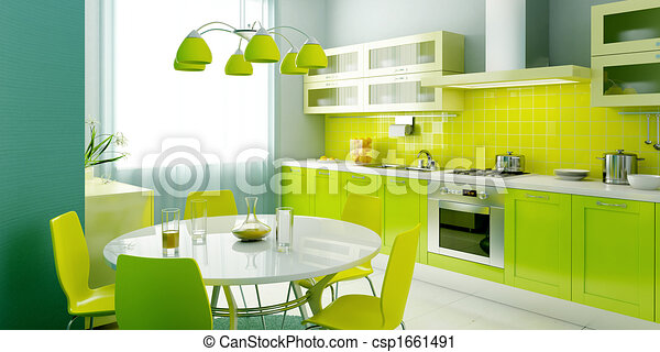 Clipart Of Modern Kitchen Interior 3d Rendering Csp1661491 Search Clip Art Illustration