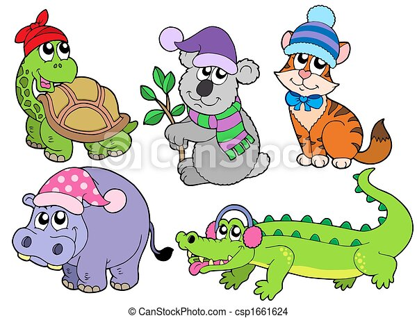 Animals in winter clothes collection 1 - csp1661624