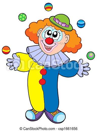 Illustration de jonglerie clown dessin anim juggling for Disegno pagliaccio colorato