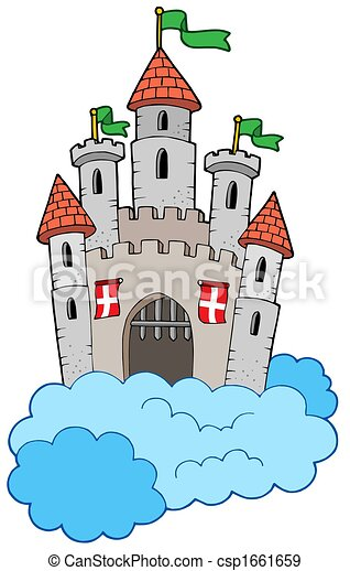 Medieval castle on clouds - csp1661659