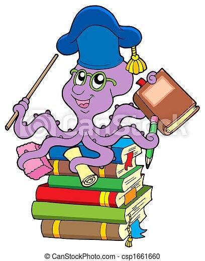 Octopus teacher on pile of books - csp1661660
