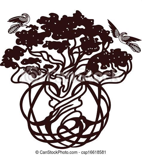World tree with the birds - csp16618581