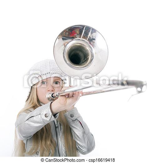 Stock Photo - young girl with cap playing trombone - stock image ...