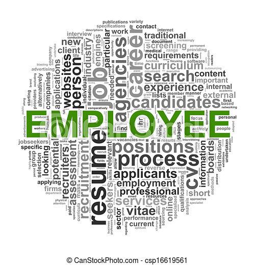 Circular wordcloud design employee word - csp16619561