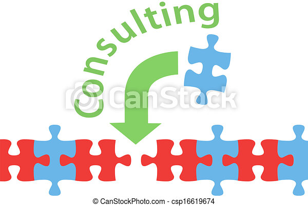 Vectors Illustration of Consulting solution puzzle help answer ...