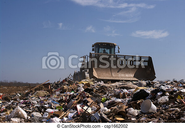 Landfill moving trash - csp1662002