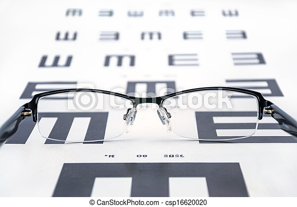 Eyeglasses on a eye sight test chart. - csp16620020