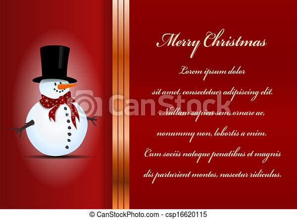 Christmas card. Celebration background with snowman and place for your text. - csp16620115