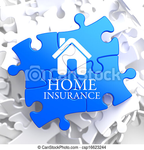 Insurance - Home Icon on Blue Puzzle. - csp16623244