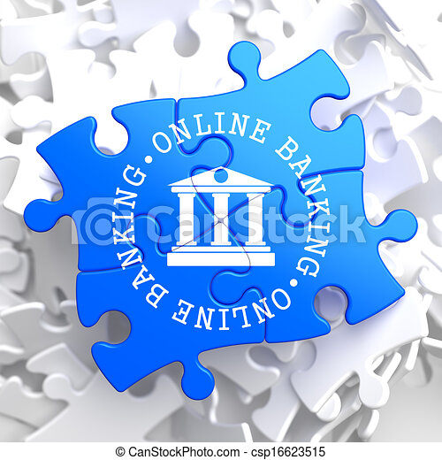 Online Banking Concept on Blue Puzzle. - csp16623515