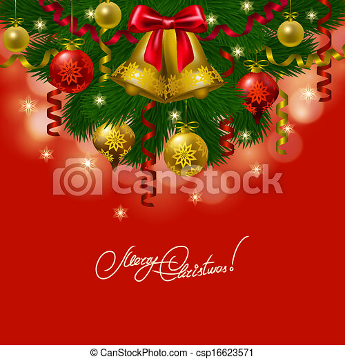 Background with baubles, christmas tree. - csp16623571