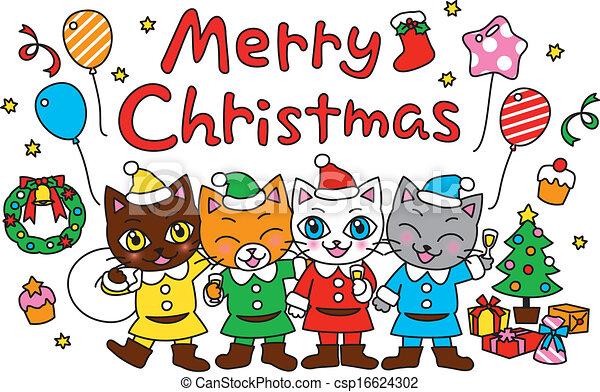 Vector , navidad, gatos, alegre, fiesta