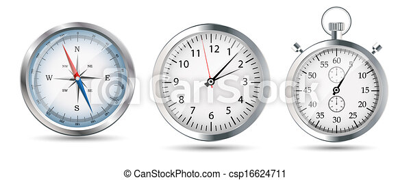 Compass Watch Drawing Glossy Compass Watch And